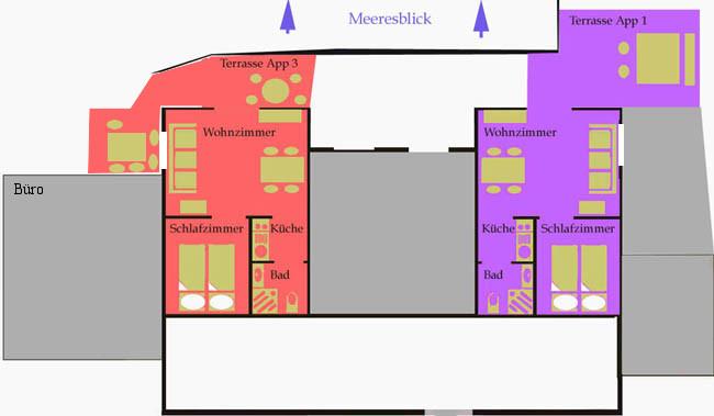 Aufteilung mittlere Appartements mit Meeresblick
